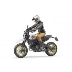Moto Scrambler Ducati Desert Sled avec motard - Bruder