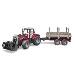 Tracteur MF avec chargeur et rem. à bois - Bruder