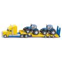 Camion surbaissé avec 2 tracteurs New Holland