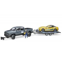 RAM Power Wagon avec remorque et voiture roadster - Bruder