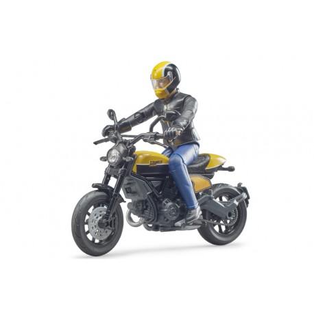 Moto Ducati Scrambler avec motard - Bruder