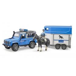 Land Rover de police avec Van et policier monté - Bruder
