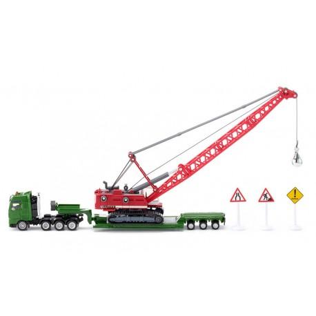 Camion-surbaissé-avec-pelle-à-cables-et-voiture-de-service