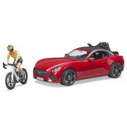 Voiture Roadster avec vélo de route et cycliste - Bruder