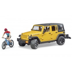 Jeep Wrangler avec vélo tout-terrain et cycliste - Bruder