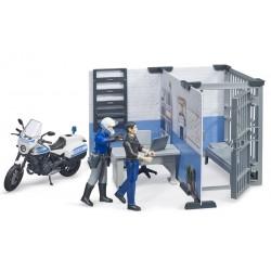 Poste de police avec moto et personnages - Bruder