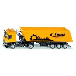 Camion MB Actros orange avec benne Fliegl - Siku