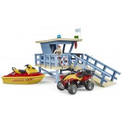 Poste de secours bworld avec quad et scooter des mers - Bruder - 62780
