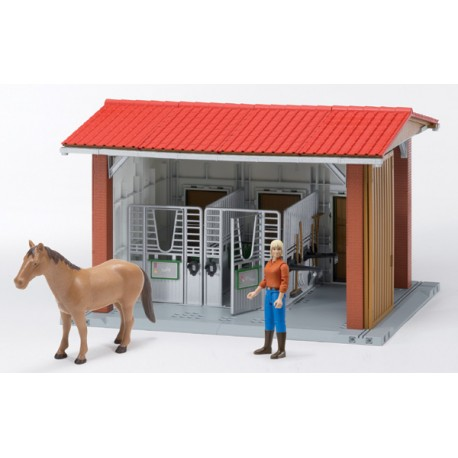Ecurie-Bworld-avec-figurine-et-cheval