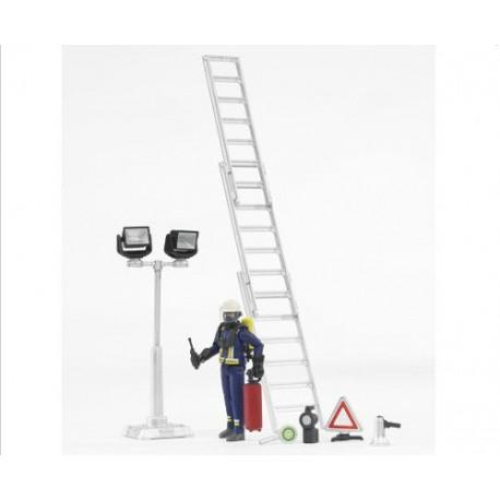 Set pompier avec accessoires feu