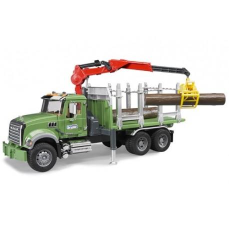 Camion transport de bois Mack avec grue