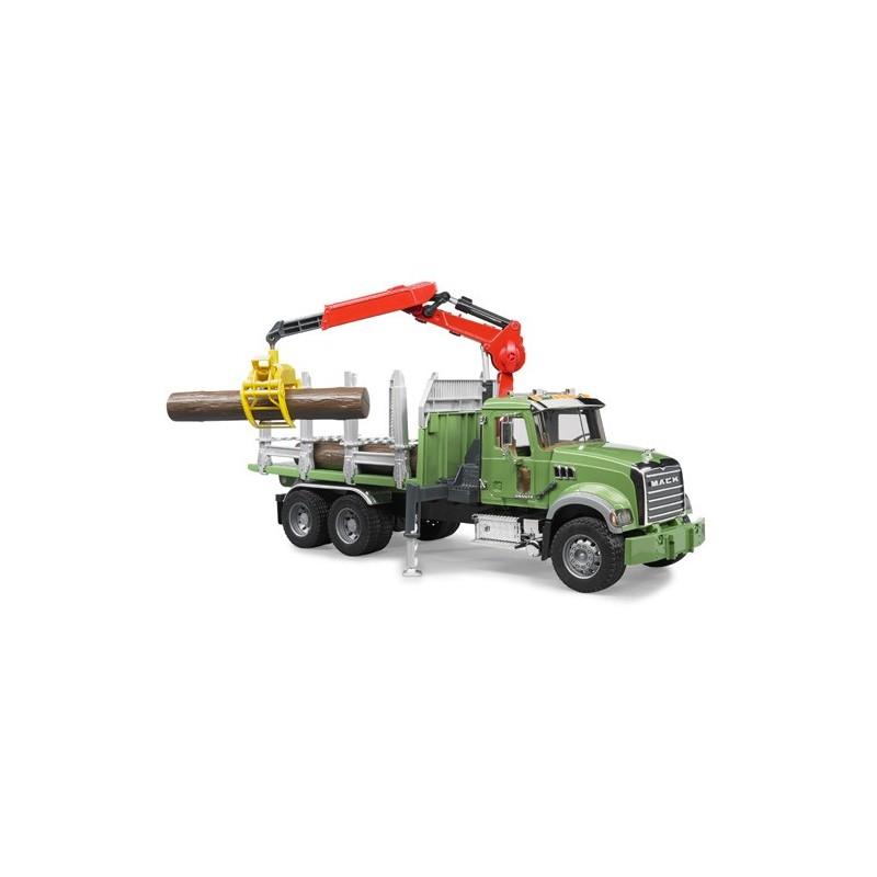 camion transport de bois mack avec grue bruder bru02824 camion miniature bruder minitoys. Black Bedroom Furniture Sets. Home Design Ideas