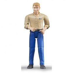 Homme blond avec chaussures et pantalon bleu