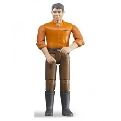 Homme brun avec pantalon marron