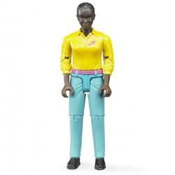 Figurine femme noire avec pantalon turquoise