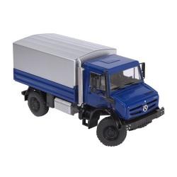 MB Unimog U 5000 bleu avec plateau bâché