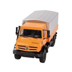 MB Unimog U 5000 orange avec plateau bâché