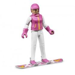 Femme en snowboard avec accessoires - Bruder