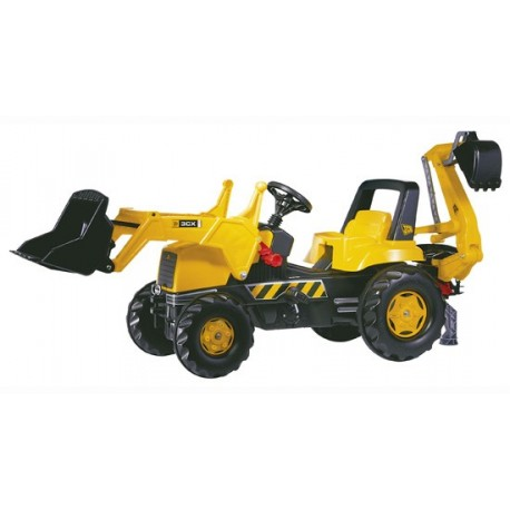 Tracteur à pédales JCB avec pelle avant et excavatrice