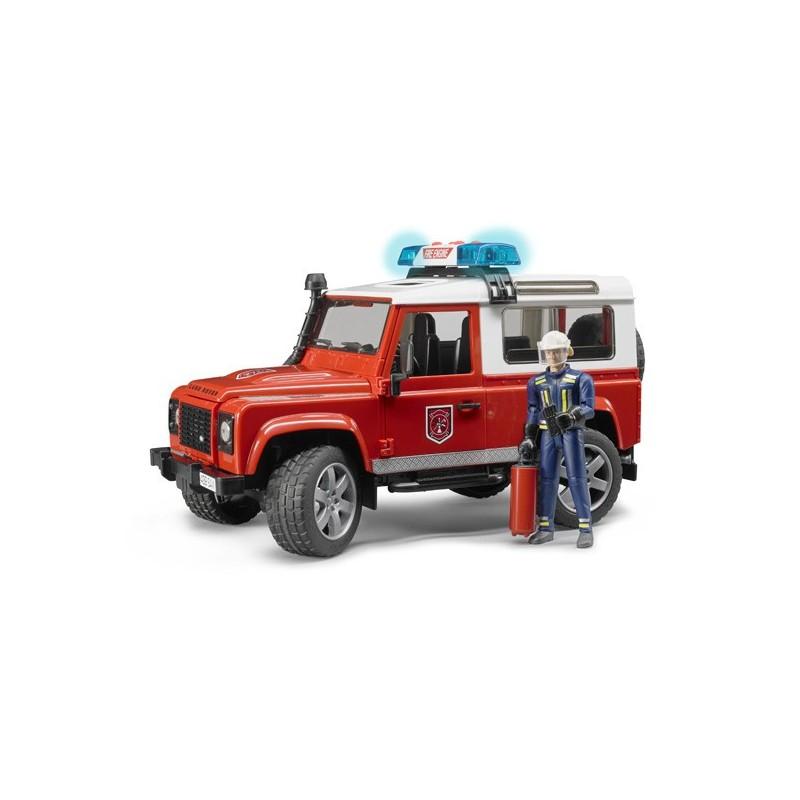 Land Rover Defender Pompiers Avec Figurine Bru02596