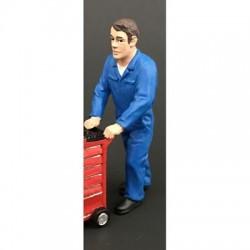 Figurine homme poussant (bleu)