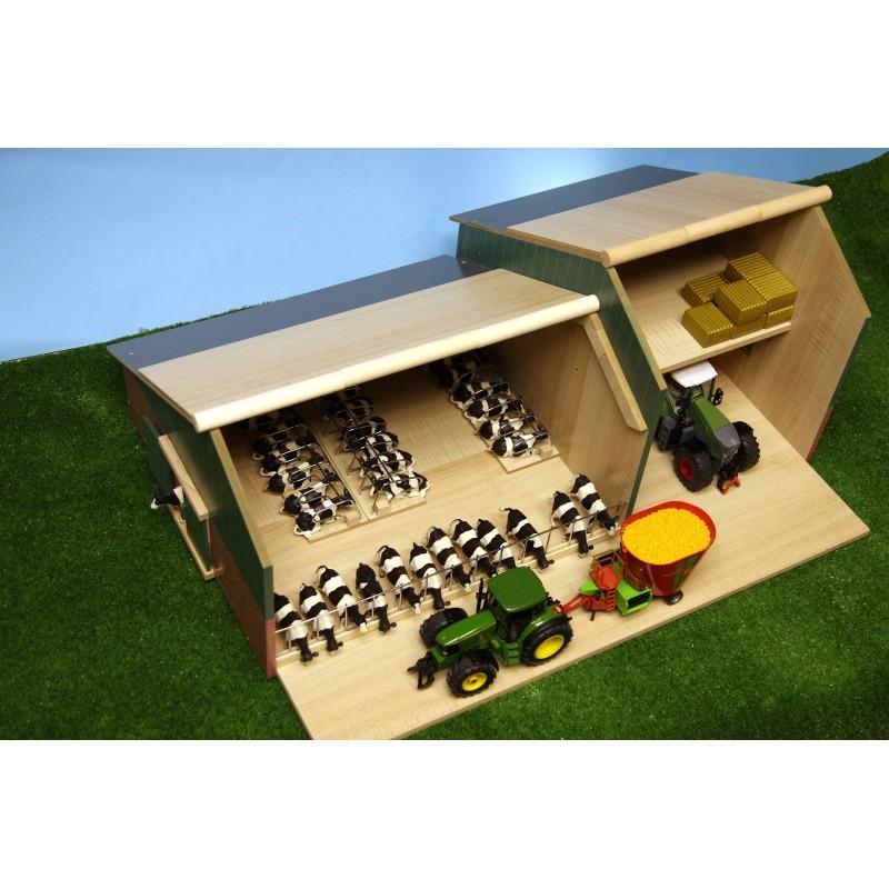 etable avec hangar en bois 1 32 kids610409 b timent. Black Bedroom Furniture Sets. Home Design Ideas