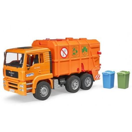 Camion poubelle Man orange