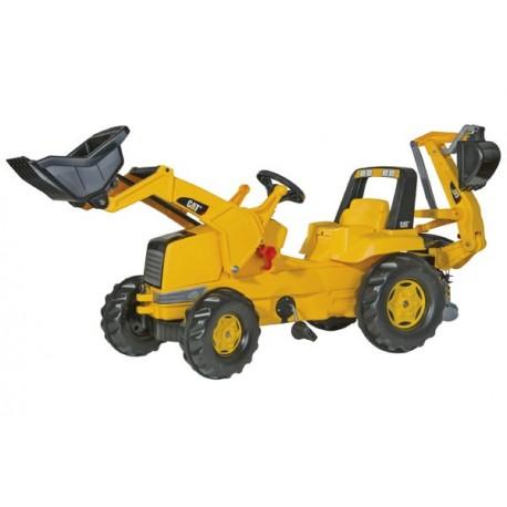 Tracteur CAT avec pelleteuse et excavatrice arrière