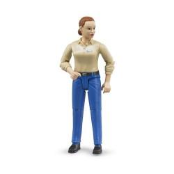 Figurine femme rousse avec pantalon bleu