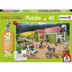 """Puzzle Schleich """"A la ferme"""" - 40 pièces"""