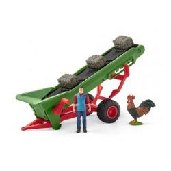 Bande transporteuse de foin avec fermier