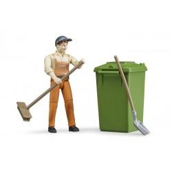 Set figurine agent de propreté Bruder